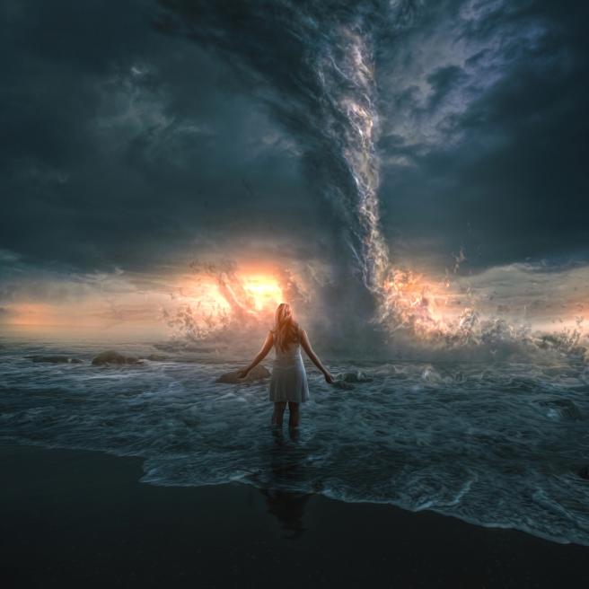 Woman and tornado